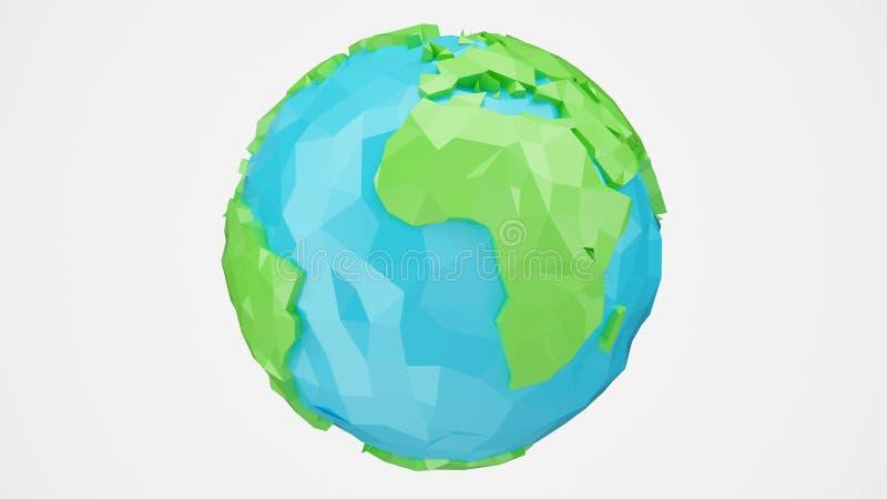 a rendição 3D girou a baixa terra poli com canal alfa, ilustração do globo Globo poligonal isolado no fundo branco imagem de stock