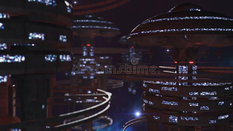 rendição 3d Grupo poderoso de spacestations na cena cósmica ilustração do vetor