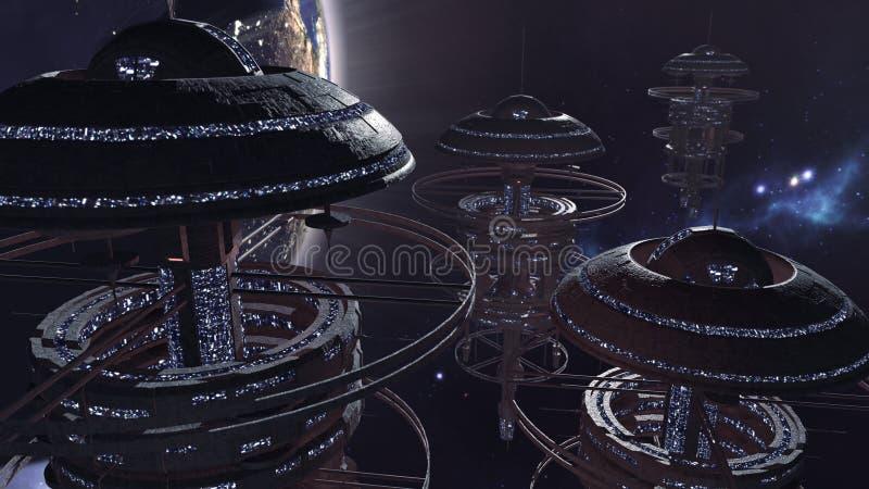rendição 3d Grupo poderoso de spacestations na cena futurista ilustração stock