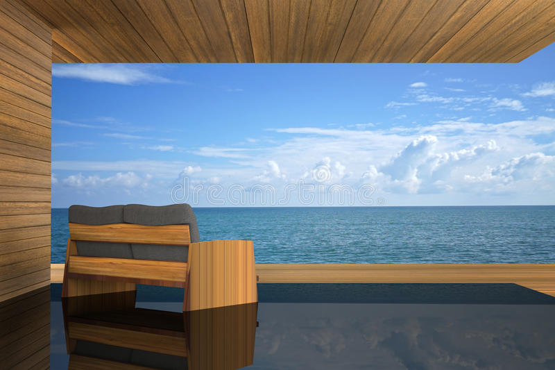 rendição 3D: ilustração da decoração interior do sofá de madeira moderno no estilo de madeira exterior da sala do balcão com Sund ilustração royalty free