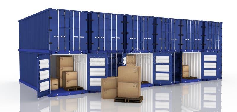 rendição 3D: ilustração da fileira do recipiente com as caixas abertas do recipiente e de cartão dentro do recipiente exportação  ilustração stock