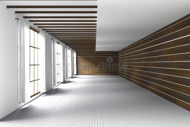 rendição 3D: ilustração da grande sala espaçoso, luz natural das janelas de vidro Interior vazio da sala na parede de madeira ilustração do vetor