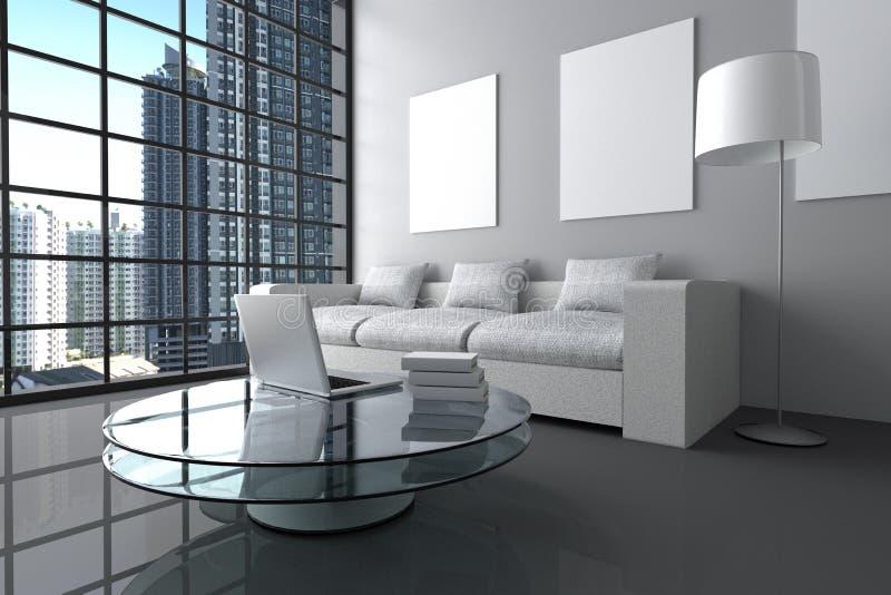 rendição 3D: ilustração da sala de visitas branca interior moderna do minimalismo com laptop, e livro na tabela de vidro ilustração royalty free