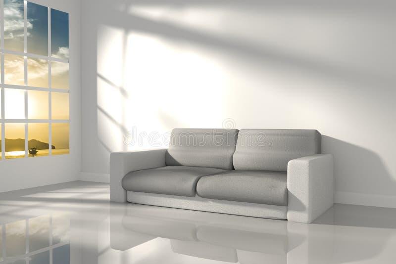 rendição 3D: ilustração da sala interior do sentimento branco do minimalismo com mobília de couro moderna do sofá no meio da sala ilustração do vetor