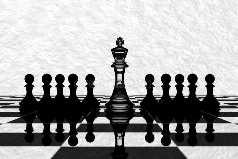rendição 3D: ilustração de partes de xadrez a xadrez de vidro do rei no centro com xadrez do penhor na parte traseira Placa de xa ilustração do vetor