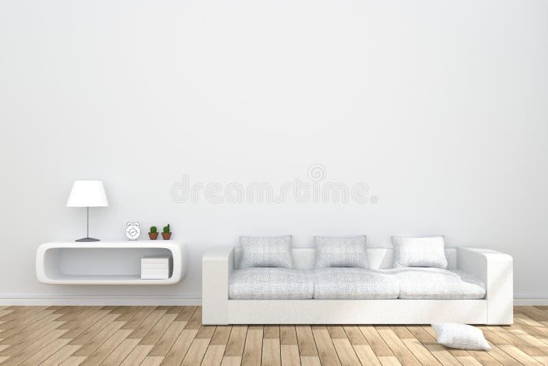 rendição 3D: ilustração do interior acolhedor da sala de visitas com a biblioteca branca e da mobília branca do sofá contra a par ilustração do vetor