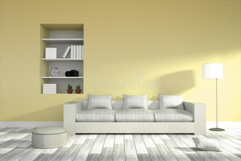 rendição 3D: ilustração do interior moderno da sala de visitas ilustração stock