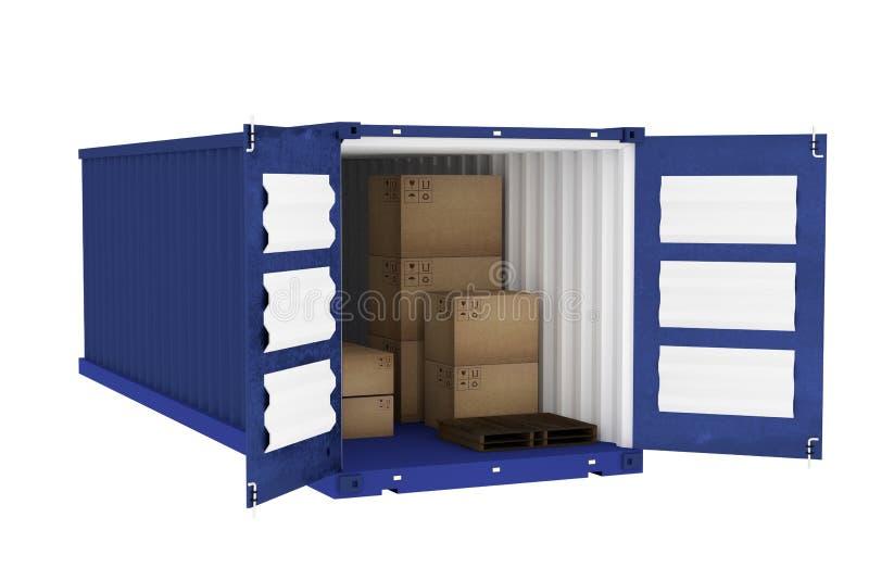 rendição 3D: ilustração do recipiente azul com as caixas de cartão dentro do recipiente conceito da importação da exportação do n ilustração royalty free