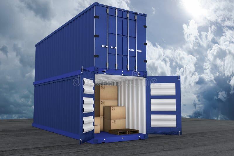 rendição 3D: a ilustração do recipiente dois com um abriu caixas do recipiente e de cartão dentro do recipiente exportação do neg ilustração stock