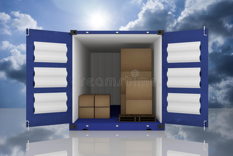 rendição 3D: a ilustração do recipiente dois com um abriu caixas do recipiente e de cartão dentro do recipiente exportação do neg ilustração do vetor