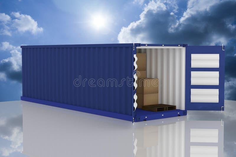 rendição 3D: a ilustração do recipiente dois com um abriu caixas do recipiente e de cartão dentro do recipiente exportação im do  ilustração do vetor
