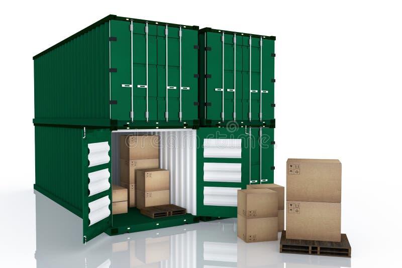 rendição 3D: a ilustração do recipiente quatro com um abriu caixas do recipiente e de cartão dentro do recipiente exportação do n ilustração stock