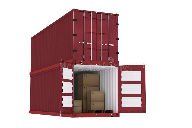 rendição 3D: ilustração do recipiente vermelho com as caixas de cartão dentro do recipiente conceito da importação da exportação  ilustração do vetor