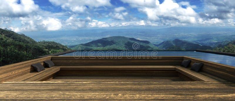 rendição 3D: ilustração do recurso ou da casa de madeira moderna na zona exterior do resto com vista bonita na parte superior da  ilustração royalty free