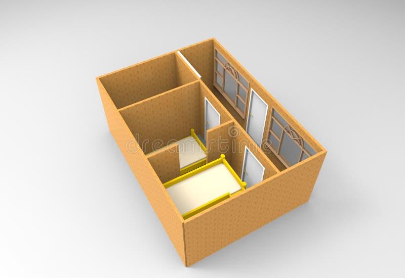 rendição 3D interior imagem de stock