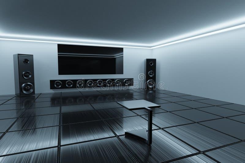 rendição 3d Interior de Minimalistic Sala de escuta ilustração royalty free