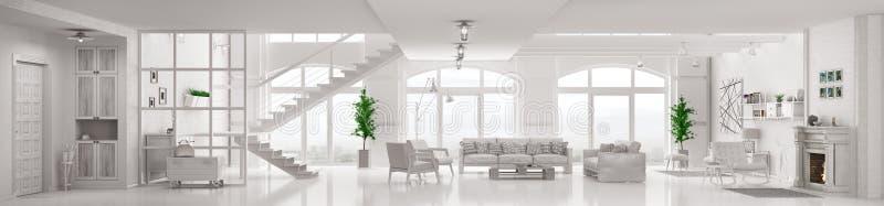 Rendição 3d interior do apartamento branco do sótão ilustração stock