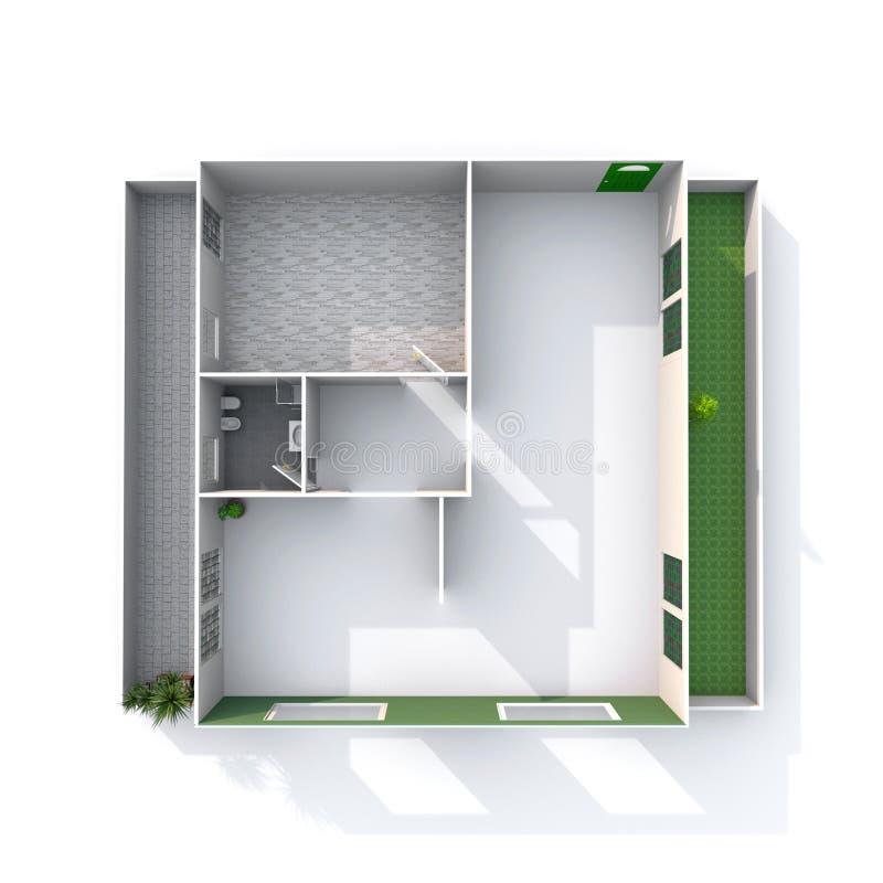 rendição 3d interior do apartamento de papel arquitetónico vazio da casa modelo ilustração royalty free