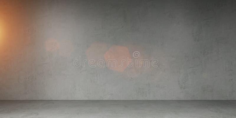 Rendição 3D interior do muro de cimento ilustração royalty free