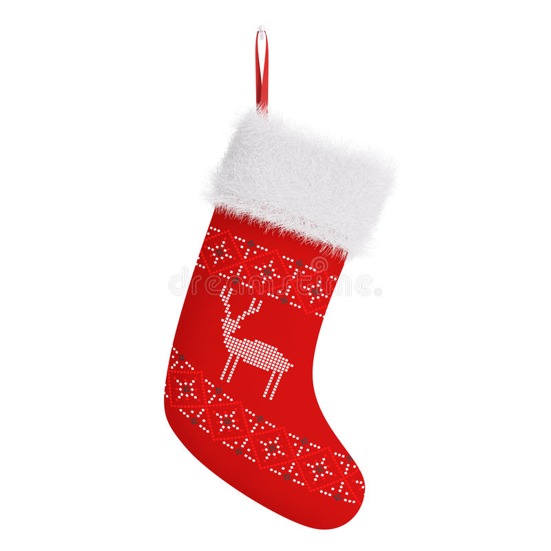 Rendição 3d isolada do Natal meia vermelha ilustração do vetor
