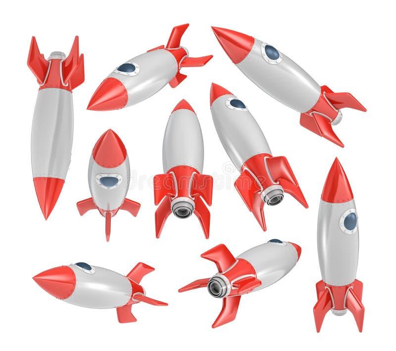 rendição 3d muita do vintage que olha os foguetes de espaço colocados aleatoriamente em um fundo branco ilustração stock