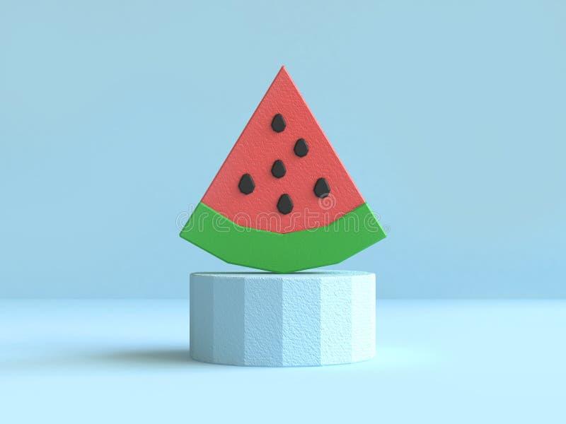 Rendição 3d poli verde vermelha da melancia pastel azul da cena baixa ilustração do vetor