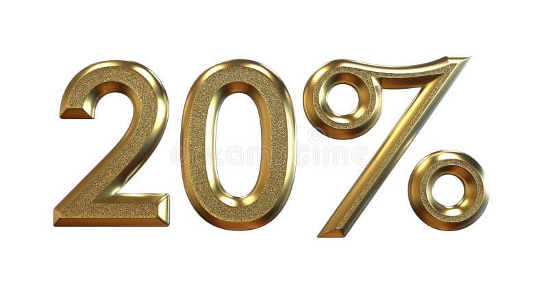 rendição 3d Porcentagens do ouro em um fundo branco ilustração royalty free