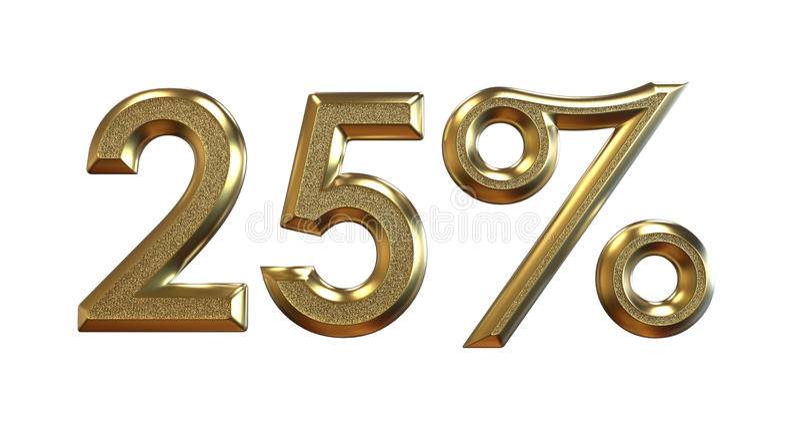 rendição 3d Porcentagens do ouro em um fundo branco ilustração do vetor