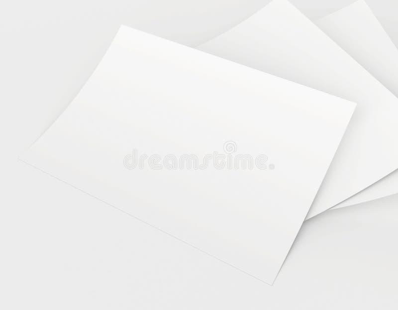 Rendição 3D realística do papel branco vazio das folhas ilustração stock