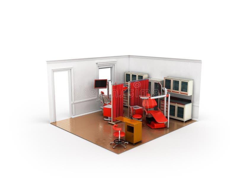 Rendição 3d vermelha do escritório isométrico do dentista no fundo branco ilustração stock