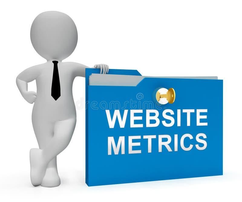 Rendição da analítica 3d do local do negócio do medidor do Web site ilustração royalty free