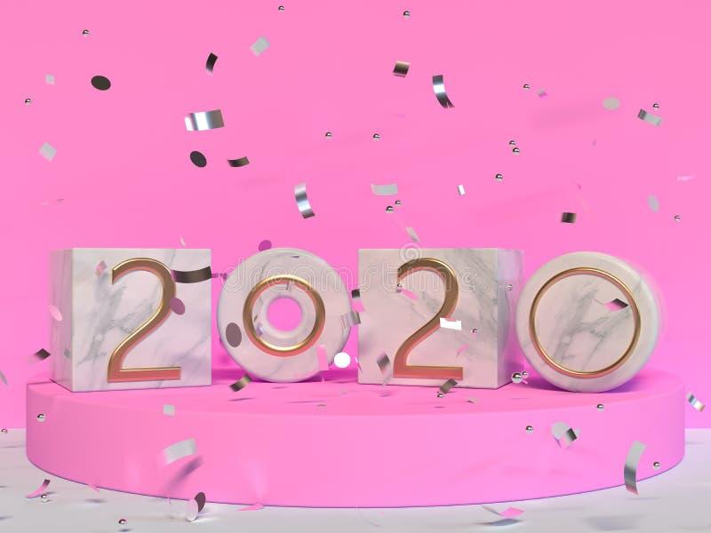 Rendição da cena 3d da parede do rosa do tipo do mármore 2020 do quadrado/número do texto ilustração do vetor