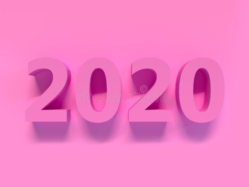 rendição da cena 3d da parede do rosa do tipo do rosa 2020/número do texto ilustração do vetor
