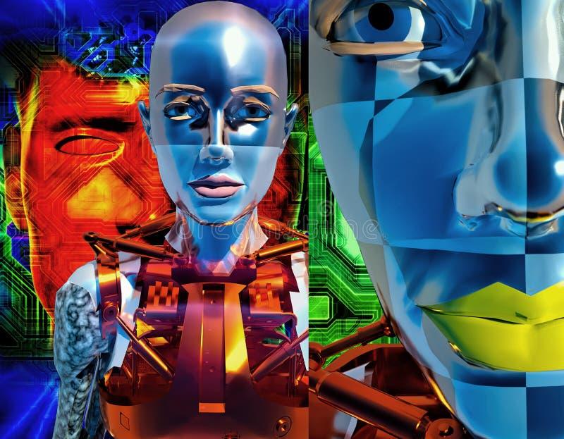 Rendição da composição 3d das criaturas do Cyborg ilustração stock