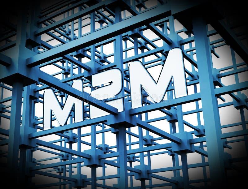 Rendição da cooperação 3d de M2M Machine Connectivity And ilustração do vetor