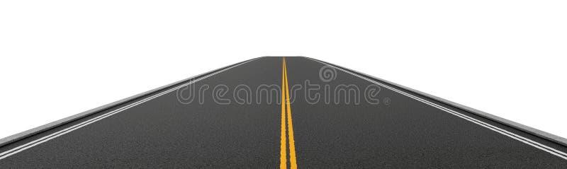 Rendição da estrada asfaltada em dois sentidos vazia que vai em linha reta e que desaparece na distância ilustração stock