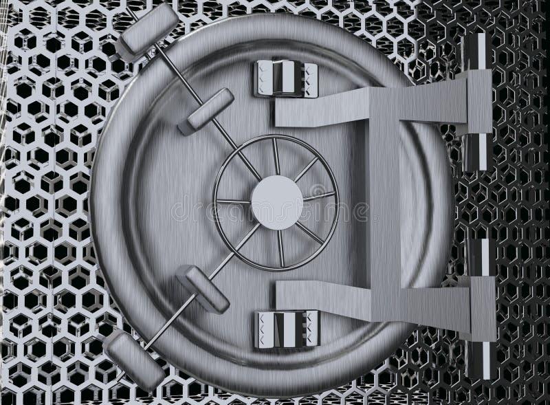 Rendição da porta 3D do cofre-forte de banco ilustração do vetor