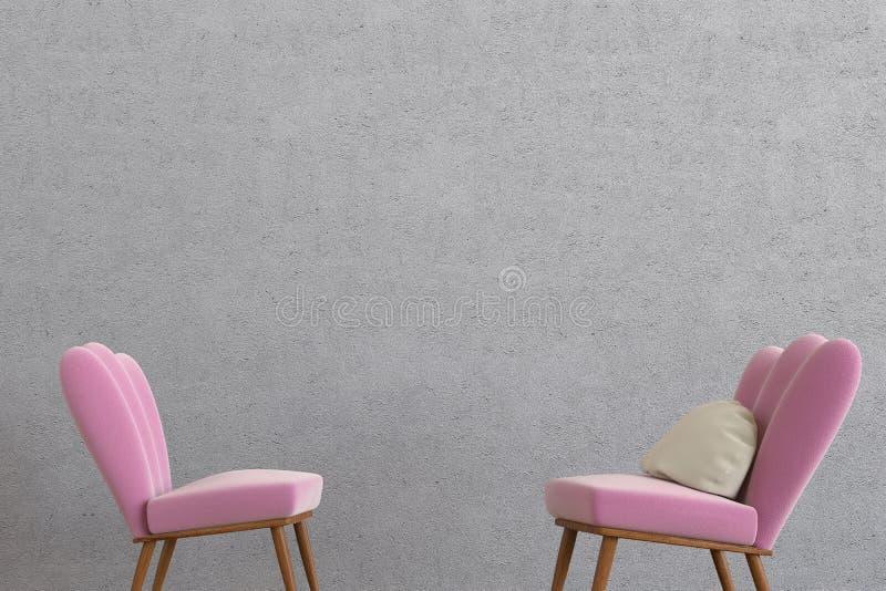 Rendição da sala 3d da sala de estar de Minimalistic imagem de stock