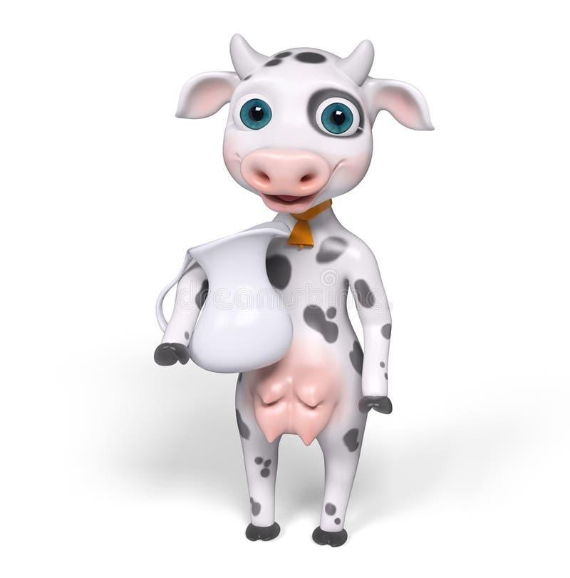 Rendição da vaca 3d dos desenhos animados ilustração stock