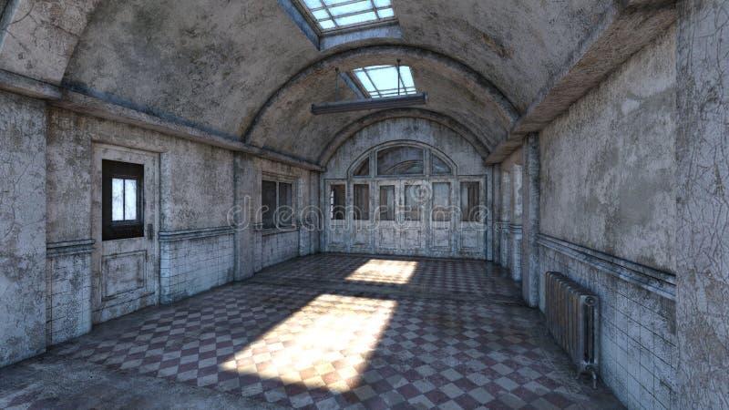 rendição de 3D CG do corredor abandonado dos plcaes ilustração do vetor