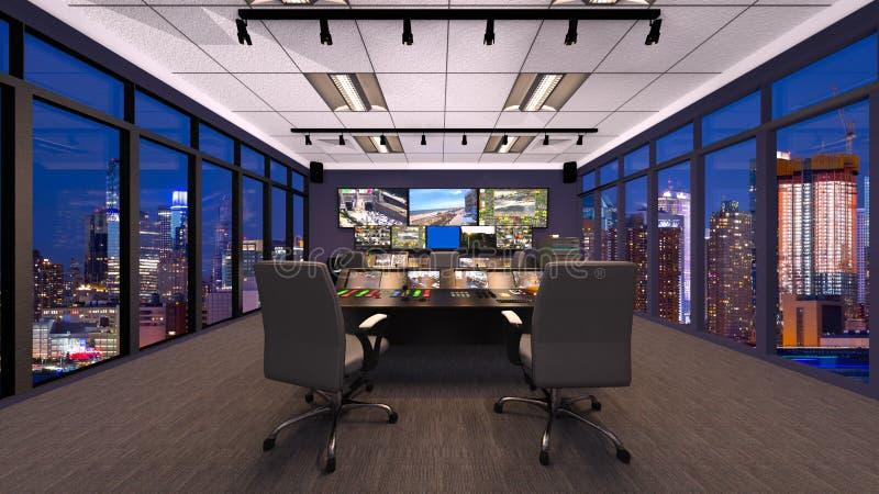 rendição de 3D CG do escritório moderno da construção ilustração do vetor