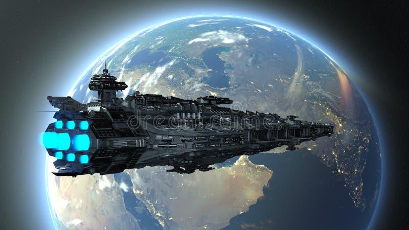 rendição de 3D CG do navio de espaço ilustração royalty free