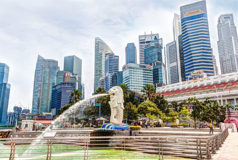 Rendição de HDR do parque de Singapura Merlion no negócio central Dist imagens de stock