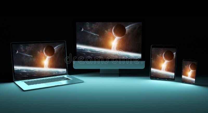 Rendição de prata digital moderna do dispositivo 3D da tecnologia ilustração royalty free