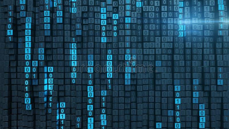 Rendição de programação binária azul do código 3D ilustração royalty free