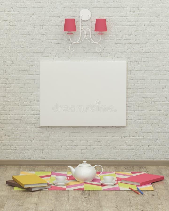 Rendição de trabalho do design de interiores 3d da sala das crianças imagem de stock royalty free