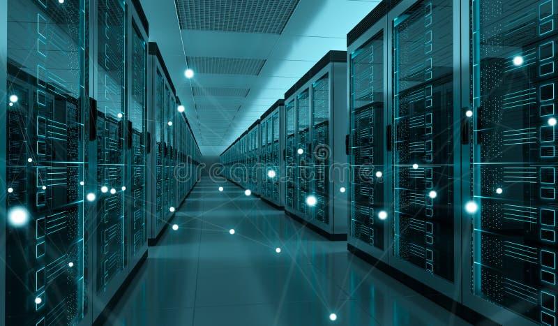 Rendição de troca center dos dados 3D do cyber da sala do servidor ilustração royalty free
