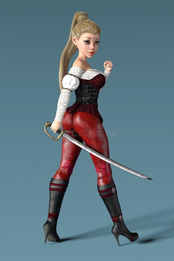 Rendição de um pirata fêmea que guarda uma espada do cutelo ilustração do vetor