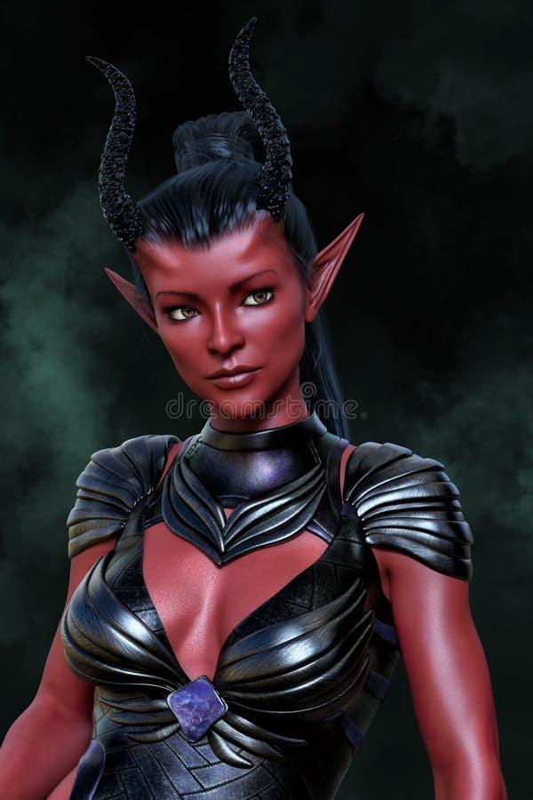 Rendição de uma mulher estrangeira da fantasia bonita com pele vermelha e cabelo preto ilustração do vetor