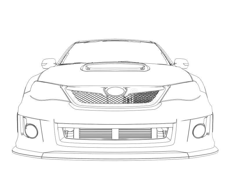 Rendição do carro nas linhas ilustração stock